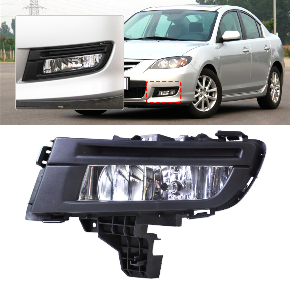ФОТО 1Pc high quality ABS plastic New Front Left Fog Light Lamp 9006 12V 51W for Mazda 3 2007 2008 2009 Replacement MA2592113