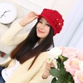 2016 just 2 pcs Elegant flowers Knitted hats bonnet caps Rabbit fur cap Autumn winter keep warm for women