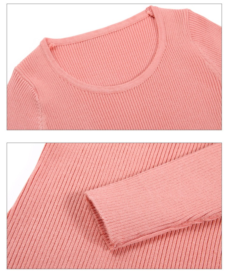 18 New Women Pullover Sweaters O-Neck Slim Bottoming Knitted Sweaters Fashion High Elastic Female Jumper Shirts Knitwear Tops 10