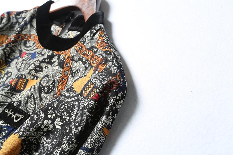 Hiver Col Samgpilee Nouveau Genou Asymétrique Mode Appliques 2018 Imprimer Naturel Colorful Complète Casual Manches longueur Robes Stand Femmes A4RcjS35Lq