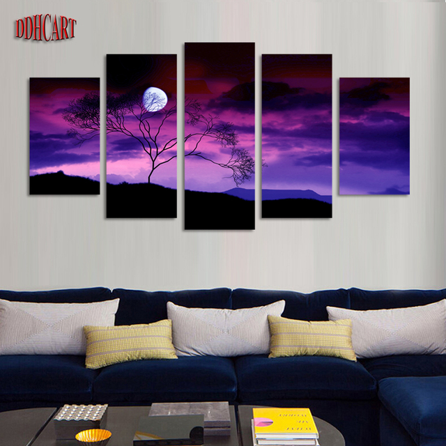 5 piece modern canvas art wall art prints painting canvas home decor poster moonnight picture artwork