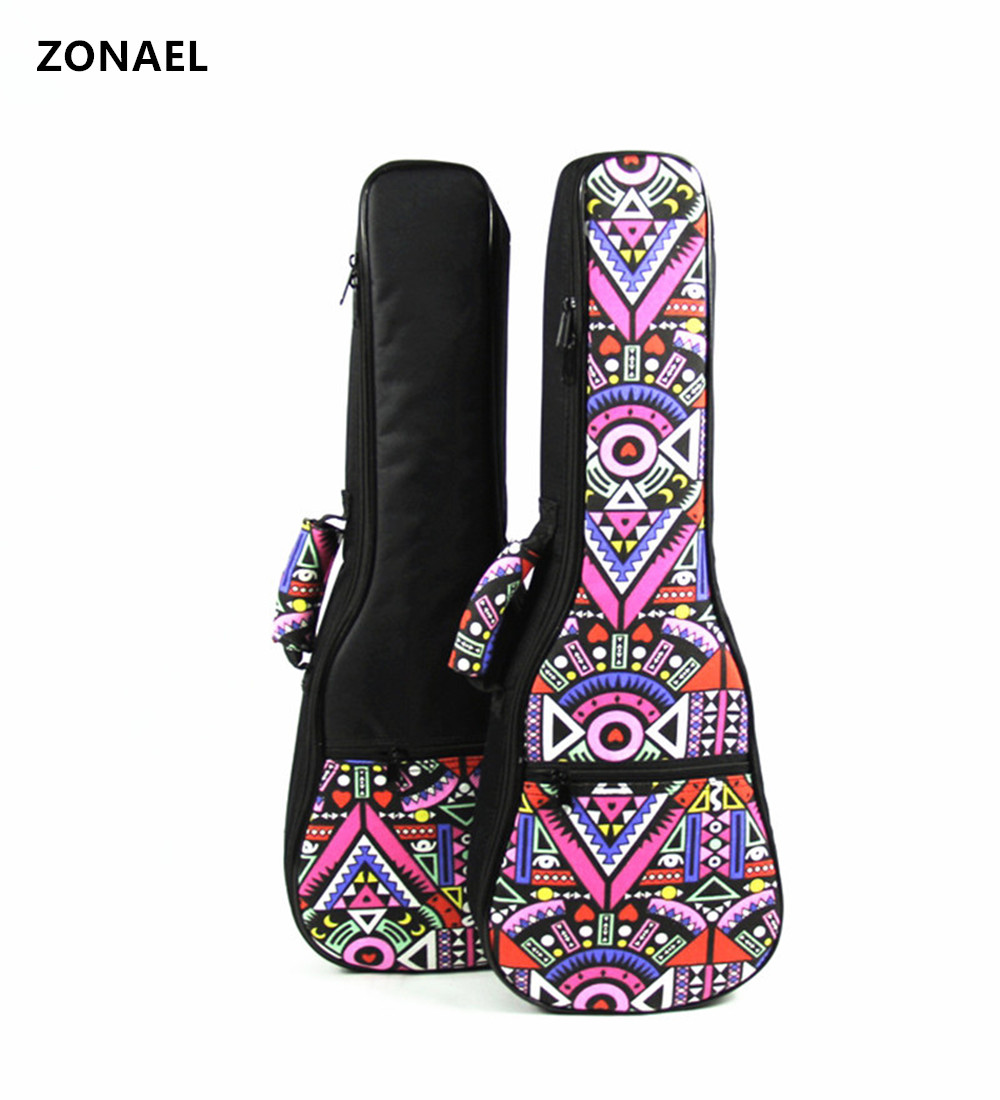 ZONAEL 21 23 26 Inch Double Strap Hand Folk Canvas Ukulele Carry Bag Cotton Padded Case For Ukulele Guitar Parts Accessories flanger fa 80 utility guitar strap for all sizes folk