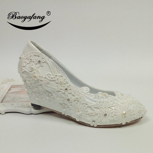 Baoyafang new white flower wedges women wedding shoes bride ladies baoyafang new white flower wedges women wedding shoes bride ladies party dress shoes female 5cm wedges mightylinksfo