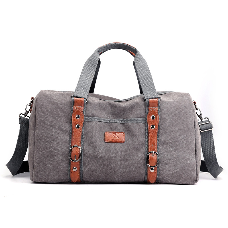 18Inch Canvas Leather Unisex Travel Leisure Bags Carry On Luggage Bag Men Duffel Bags Handbag Large Capacity Tote Holiday Bag
