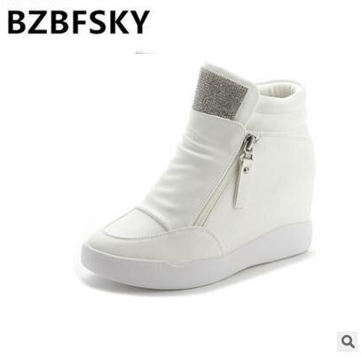 נעלי נשים 2018 עקבים טריז הגדלת גובה שחור לבן אופנה מזדמן נעלי נשים נעלי פלטפורמת מעלית יהלומים מלאכותיים