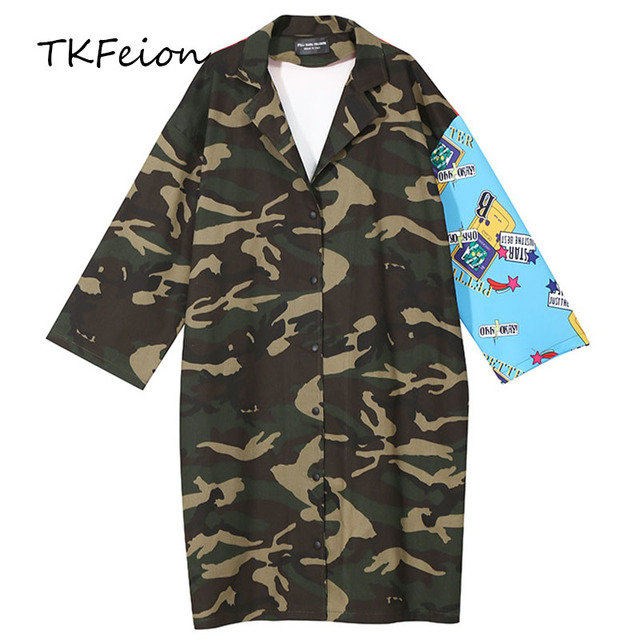 792899a416c2 Womens Trench Coats 2019 Spring Autumn Winter Ladies Loose Casual  Streetwear Fashion Camouflage Cat Print Female Splice Overcoat