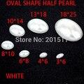 Envío gratis oval forma perlas de imitación piedra adhesiva de color blanco perlas gran para portátil teléfono móvil del clavo decoración del arte