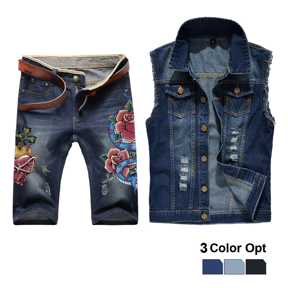Men Jean Vest Jacket Set Retro Ripped Destroyed Skinny Hole Top Denim Short Pants 1/2 Trousers Summer Beach Wear Blue Flower