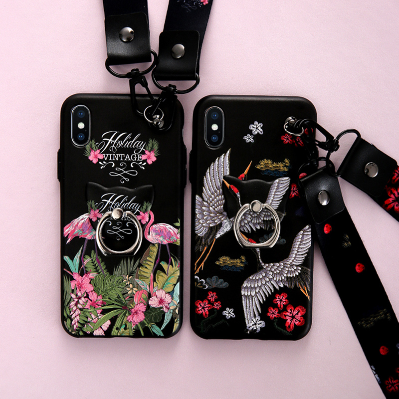 Retro Red-crowned Crane pink bird Phone Case For iphone X 6 6s 7 8 plus Fashion 3d relief print with strap soft silicon cover