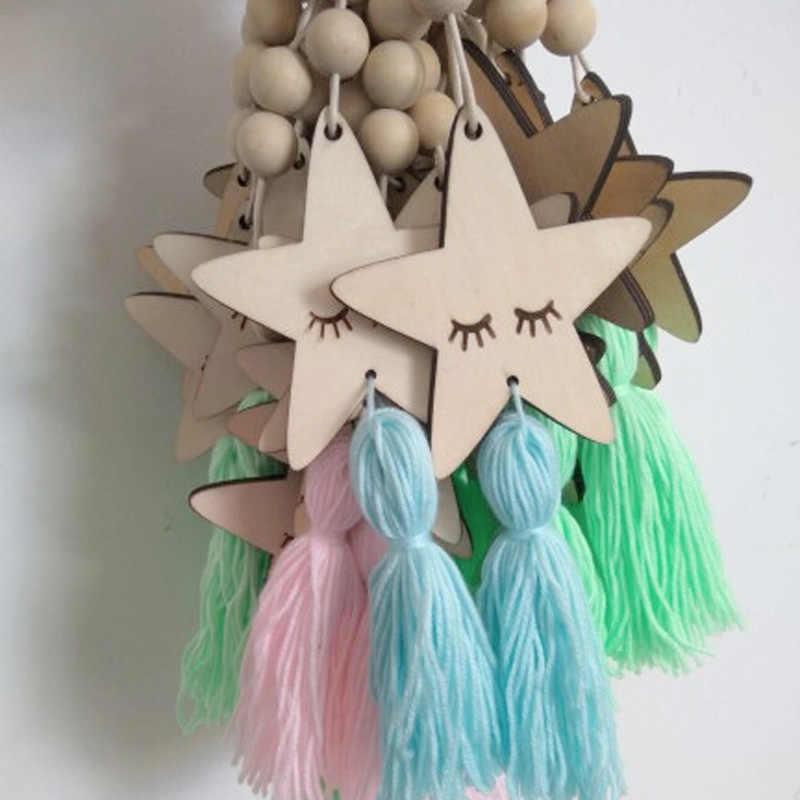 Nordic crianças decoração do quarto artesanato olhos sonolentos cílios de madeira parede pendurado estrelas grânulos decorativos borla fotografia adereços presente