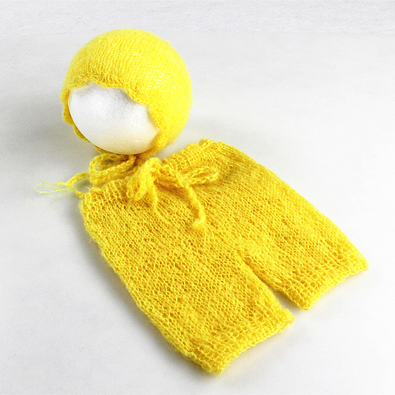 Mjuka Mohair Nyfödda Fotografier Props Kostymer Cap / Hat + Ruffles - Babykläder - Foto 2