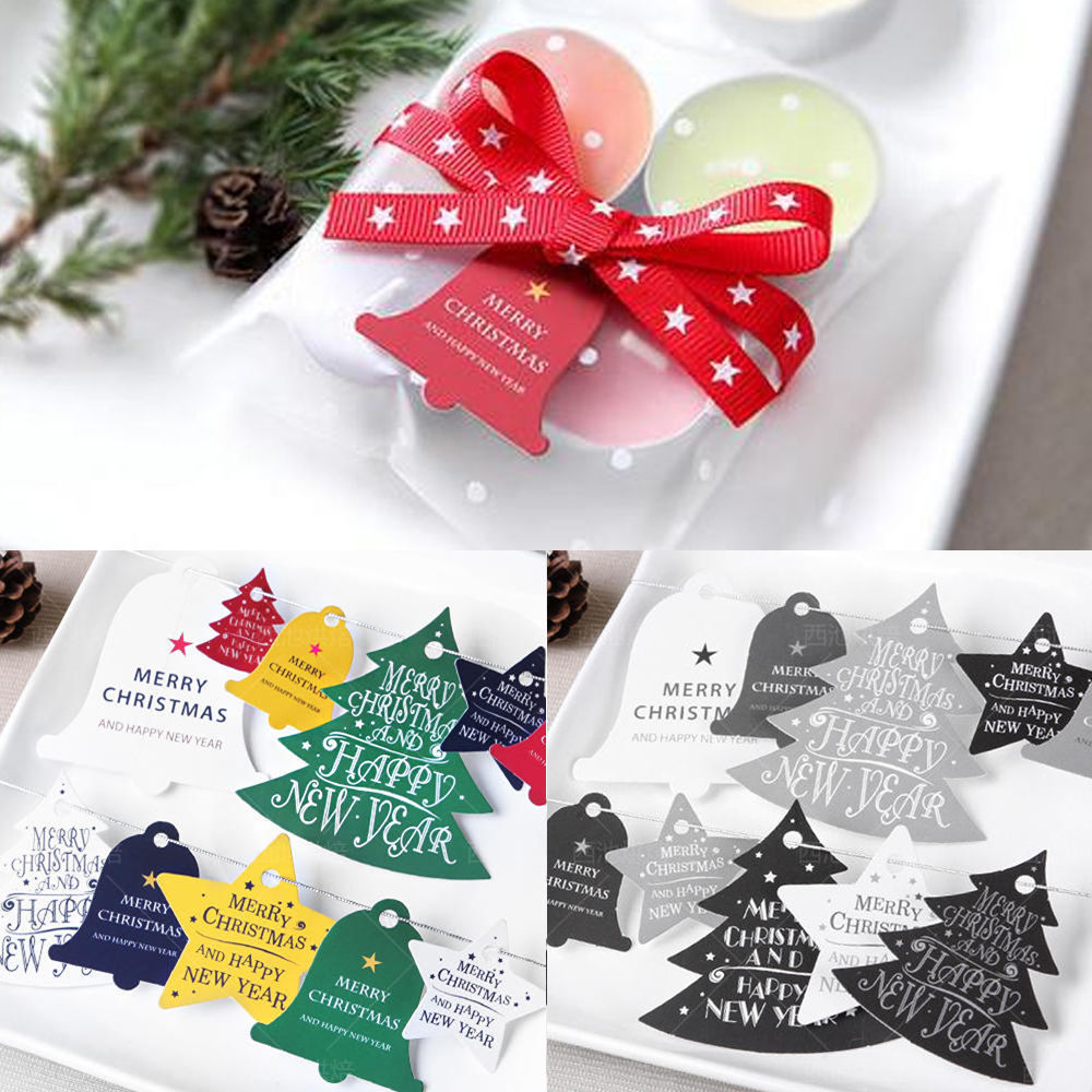 merry christmas happy new year 14pcs paper labels packaging party ...