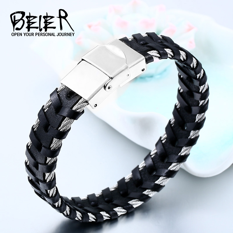 Beier 316L Stainless steel One Piece Sale Genes Leather Bracelet Bangle For Man Punk Mans Hip-pop Jewelry High Quality BC-L039