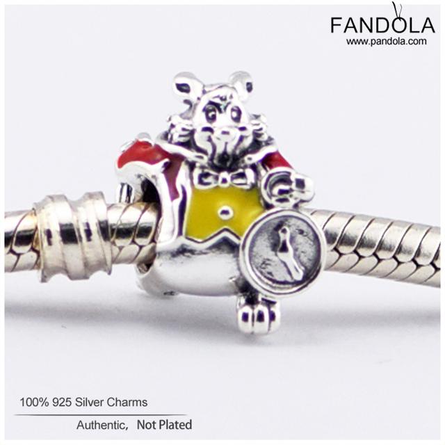 Serve para pandora pulseiras 100% de prata esterlina 925 encantos animais jóias diy fazendo contas coelho branco com vermelho & amarelo esmalte