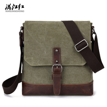 Canvas+Crazy Horse Leather Vintage Bag New Men Messenger Bags Men Shoulder Crossbody Bags for Man Small Bag Designer Handbag