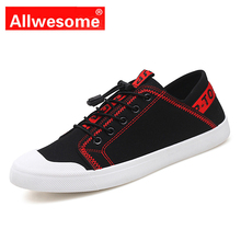 цена Allwesome Men Canvas Rubber Shoes Red Bottom Shoes Casual Skateboarding Shoes Summer Breathable Flats Designer Sneakers онлайн в 2017 году