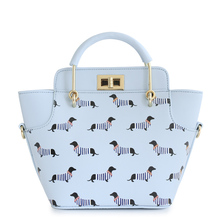 Animal Prints Dog Stripes  Mori Trapeze Lady Candy Color Faux Leather PU For Women's Handbags Navy Style Totes Cross Body Bags