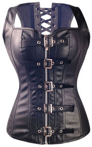 Image 1 - Sexy Lingerie Black Faux Leather Front Zipper Steel Boned Steampunk Corset Bustier Plus Size S 6XL