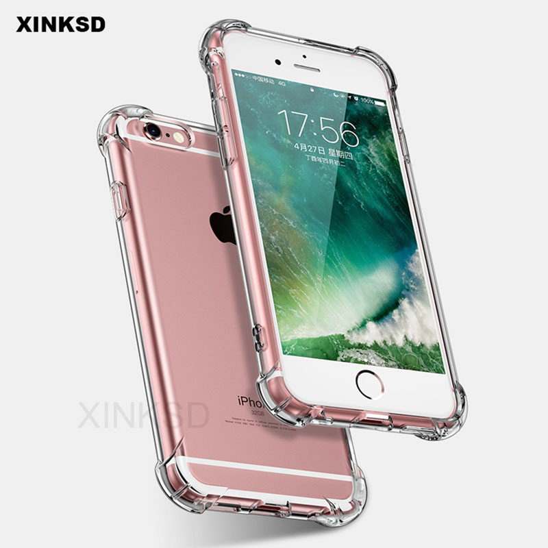 Luxury Brand Soft TPU Shockproof Cases for iPhone 6s 5 5s SE 6s 7 8 Plus X Case Armor Silicone Clear cover for iPhone 7 Case P20