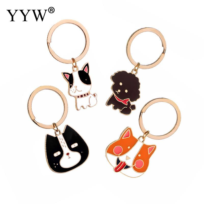 YYW Newest Cute Animal Little Dog Keychain Gold Color Plated Key Ring With Creative Model Dog For Women And Me image