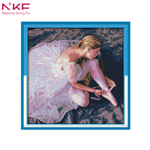 NKF Ballet Girl Painting Count on Canvas Chinese Cross Stitch Print DMC 14CT 11ct diy Sewing Kit Home Decor electronic diy kit все цены