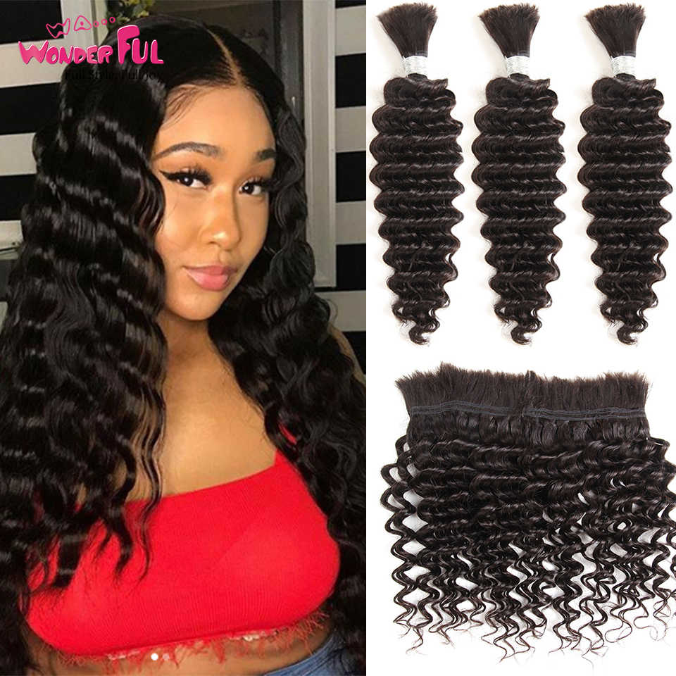 Brazilian Remy Deep Wave Bulk Human Hair For Braiding 1 Bundle Free Shipping 10 to 30 Inch Natural Color Hair Extensions