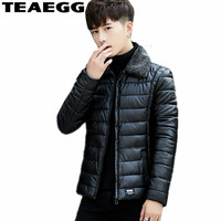 TEAEGG Faux Leather Winter Jackets Men Clothes 2019 Black Casual PU Autumn Mens Winter Coats Cotton Padded Parka MasculinaAL1350