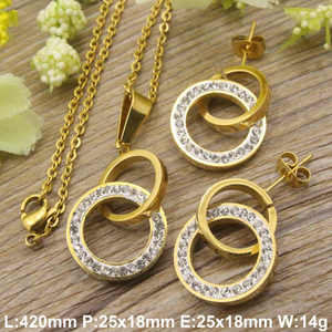 Hot new stainless steel jewelry gold color Superior quality Necklace+pendant+earring sets for women SEWDCICA