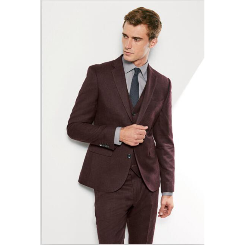 latest coat pant designs brown formal men suit skinny prom blazer simple gentle style wedding tuxedo