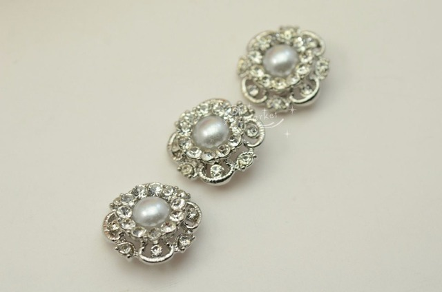 10 pcs pearls button costume dress applique vintage silver a1905