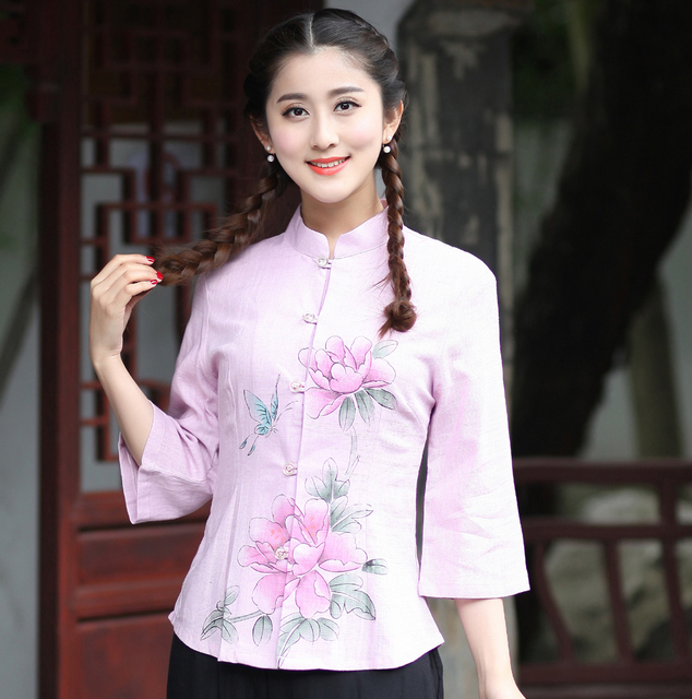854ffb2bf538c1 Spring Summer New Women's Cotton Linen Shirt Chinese Style Mandarin Collar  Blouse Flower Clothing S M L XL XL XXL XXXL 2617