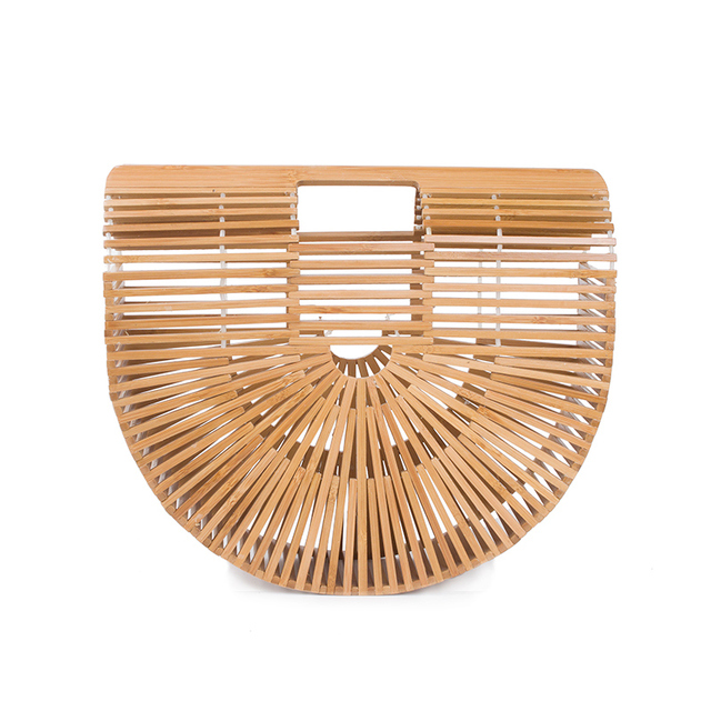 2017 Luxe Brand Women Bamboo Bag Fashion Beach Straw Handbags Tote Wood Bag Famous Brand Summer Unique Ladies Travel Clutch