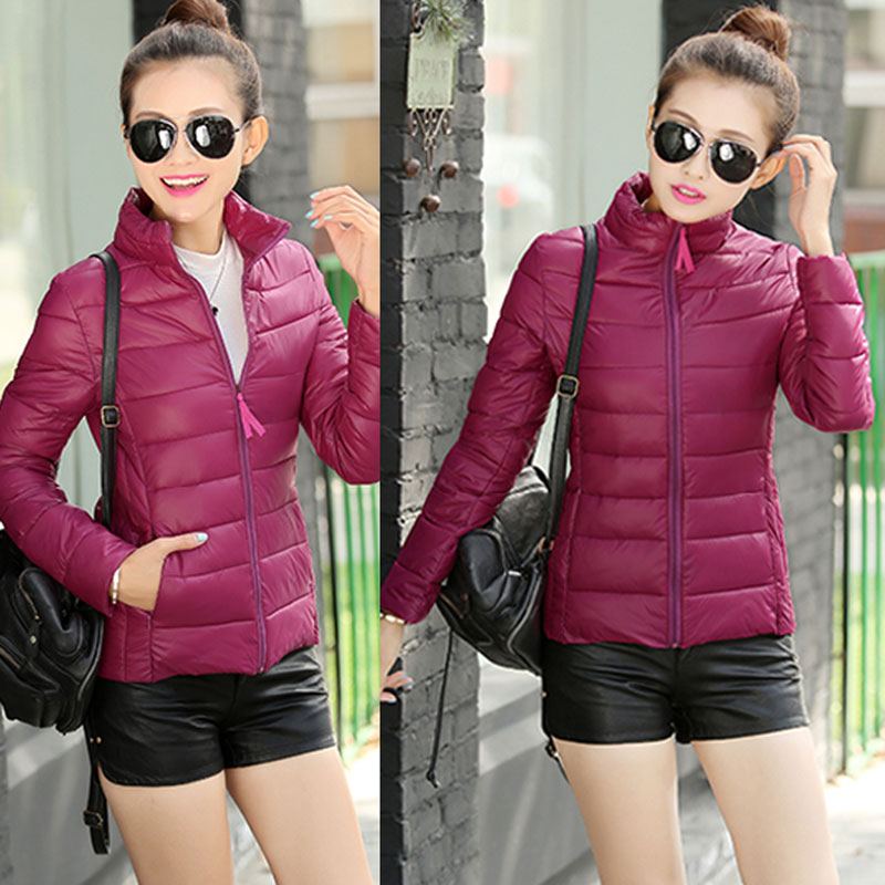Winter Women Coat Stand Collar Solid Color Light Slim Warm Zipper Outerwear Windproof Down Parkas S-4XL