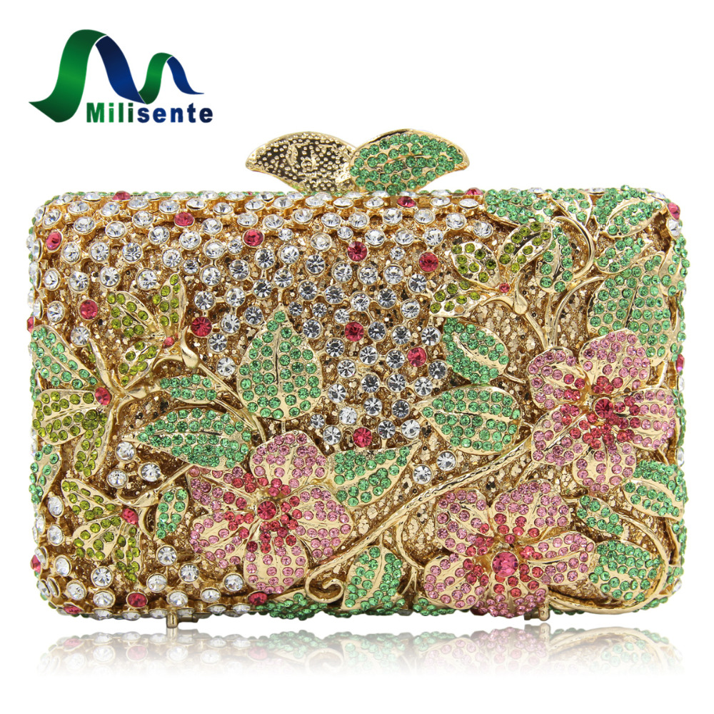 Milisente High Quality Luxury Crystal Evening Bag Women Wedding Purses Lady Party Clutch Handbag Green Blue Gold White natassie new design luxury crystal clutch women evening bag gold red ladies wedding banquet party purses good quality