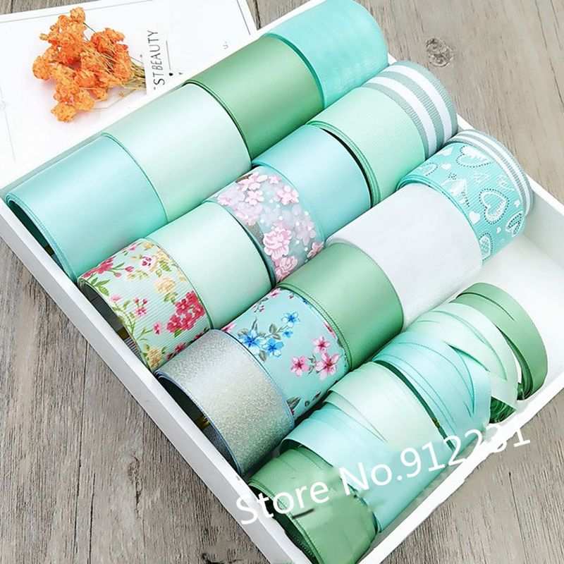 Mix 22 styles Light Green Printed Grosgrain Satin Ribbon Set for Webbing Decoration Tapes DIY Hairbow Accessories