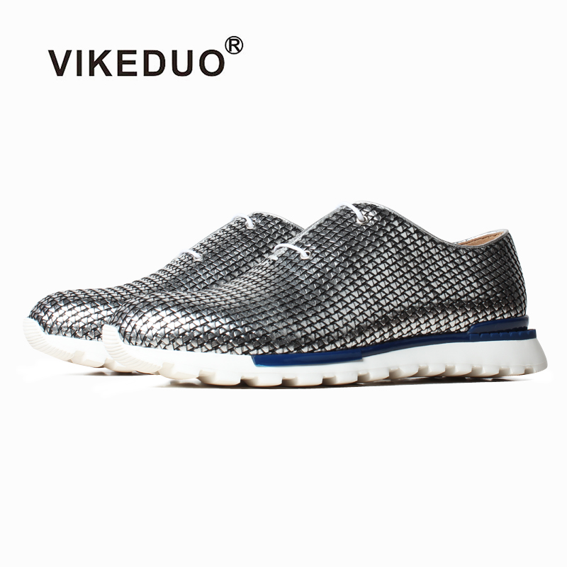 VIKEDUO Silver Sneakers Casual Summer Men Shoes Genuine Woven Leather Mans Footwear Luxury Brand Sports Zapato de Hombre