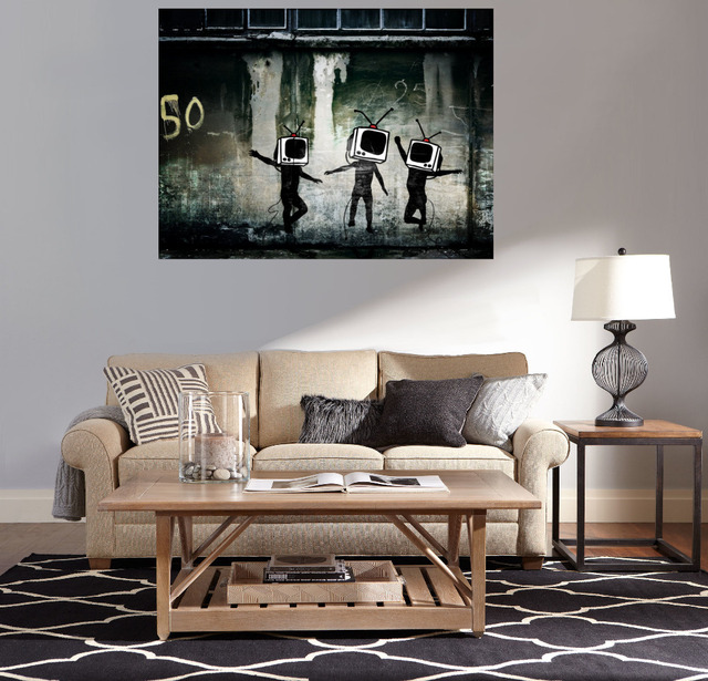 Banksy Stencils Street Art And Urban Televation Canvas Painting Home Decor Custom Wall
