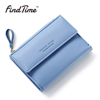FINDTIME Small Women Zipper Wallet Female Fashion Lady Wallet Short Solid Color Change Purse Hot Female