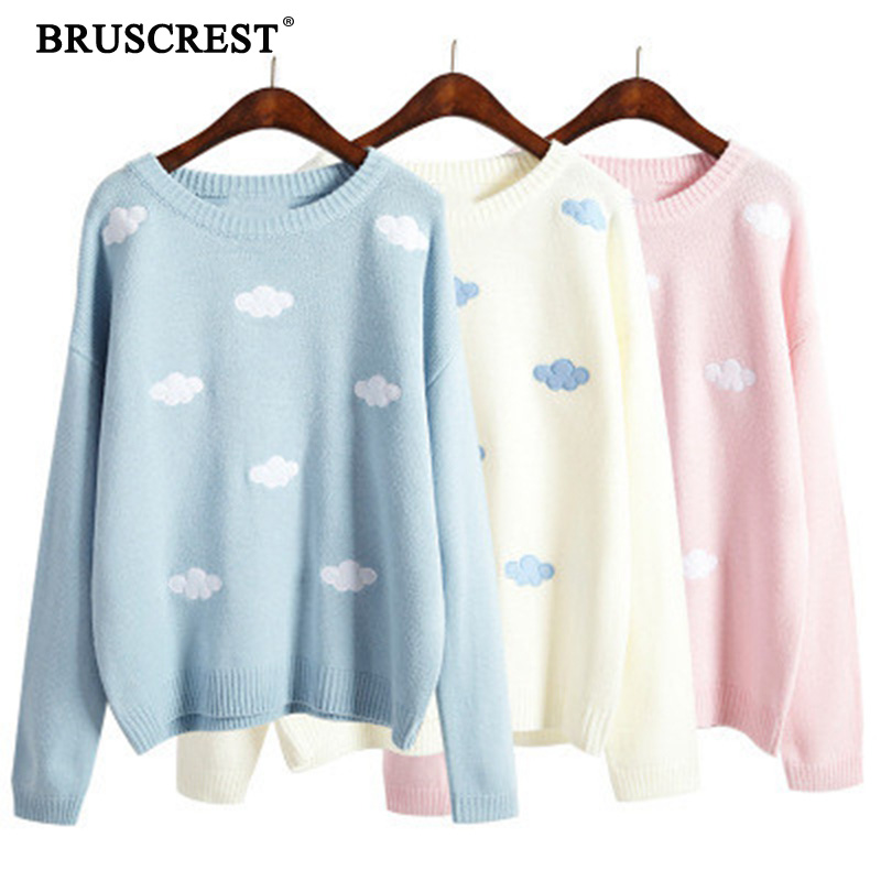 2019 New Blue Women  Vintage College Loose Clouds Sweater Female Fall Sweater O-Neck Long Sleeve Punk Winter Clothes