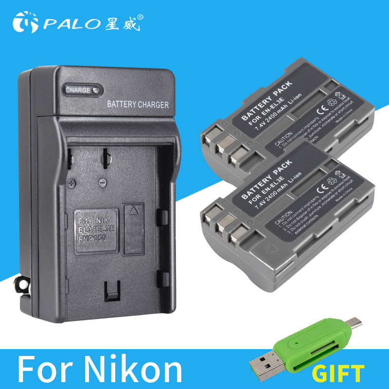 PALO 2 pcs bateria EN-EL3E ENEL3E EN EL3e Caméra Batterie + LED Chargeur pour Nikon D300S D300 D100 D200 D700 d70S D80 D90 D50 MH-18A