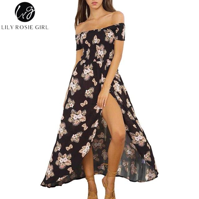 8e6e14ecebc3 Lily Rosie Girl Off Shoulder Sexy Maxi Dress Women Boho Floral Print Summer  Beach Party Dresses Short Sleeve Long Split Vestidos