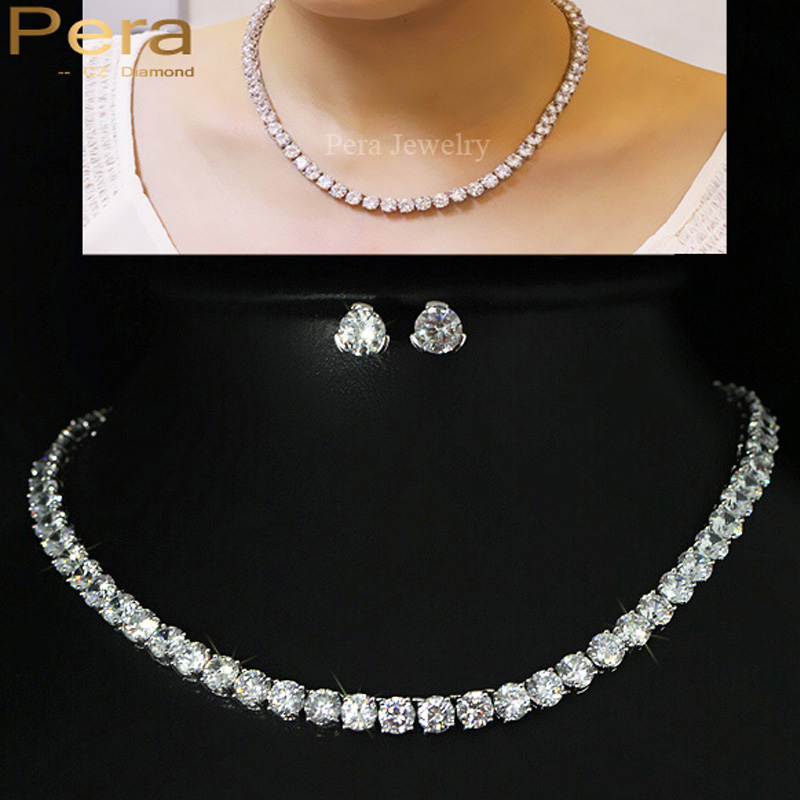 Pera Sparkling 0.5 Carat Big Round American Cubic Zirconia Stone Bridal Necklace CZ Jewelry Sets For Wedding Accessories J046