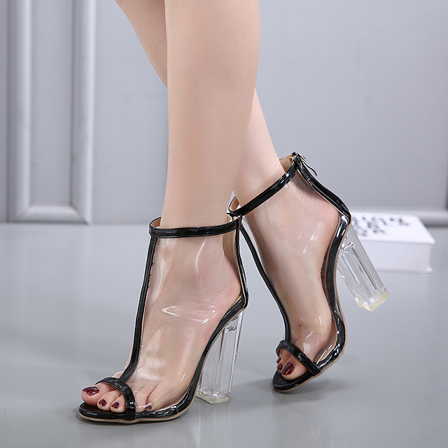 49e560e1f9c Hot Sales Ladies Fashion Transparent Square Heels Peep Top Open Toe  Stilettos Women Classics High Pump Sandals Sexy Party Shoes