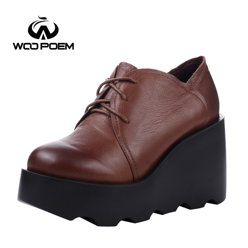 WooPoem Spring Autumn Shoes Women Cow Leather Breathable Pumps Wedges High Heels Shoes Fashion Platform Women