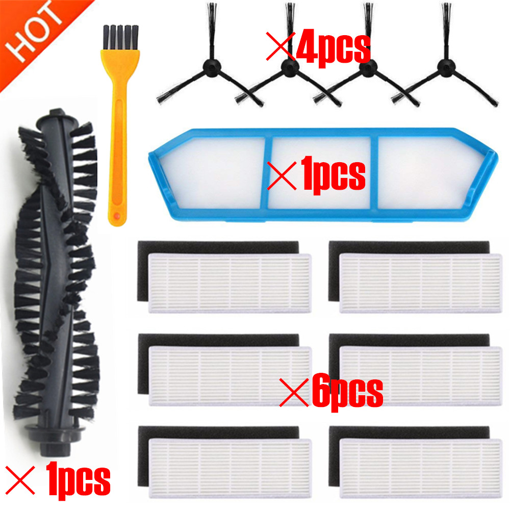 13pcs/lot Replacement For Main Brush Side Brush Filter Net Hepa Filter ILIFE  A4s A40 Robot Vacuum Cleaner Parts