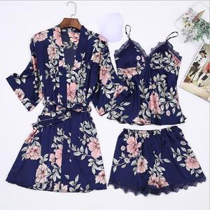 Image 2 - Fdfklak pijamas florais 2018 primavera verão sexy pijama 3 peça pijamas para a mulher de seda noite terno pijamas conjuntos casa roupas q952