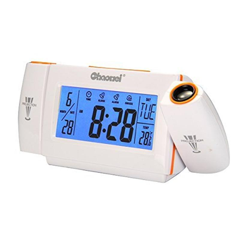 Novelty 180 Degree Rotating Sound Controlled Dual Alarm Multifunctional Digital Clock Double Projection clock Free adapter