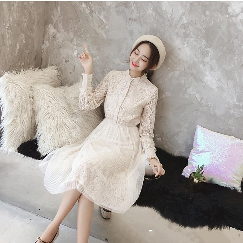 8dccbcdb469 Chic Élégant Automne Beige À New Robe Robes D été Parti Dentelle Blanc  Manches Longues Vintage En Évider Femmes 2018 6n8wxS4F6