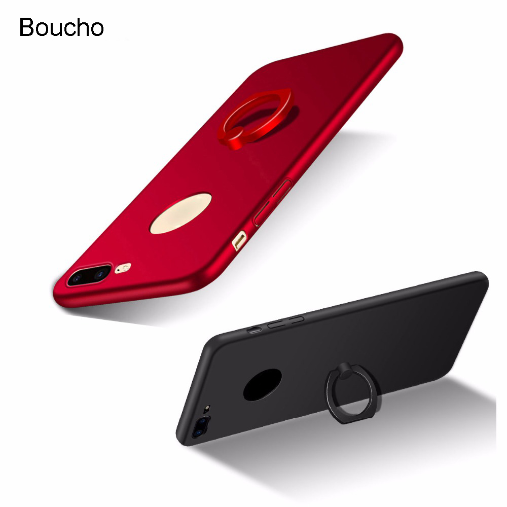 Boucho Ring Grip Phone Case For iphone 7 plus 8 plus X Hard Matte Back Cover Case For iphone 5 5S SE 6 6s plus With Finger Ring