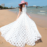 VERRAGEE Brand Summer Dress 2018 New Women Vintage Organza Sleeveless Long Beach Maxi Dress Elegant Ladies Sundress Vestidos